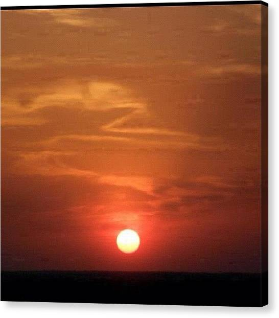 Sunset Horizon Canvas Print - No Touch Up. #sunset #red #sun #sunset by Deb Lew