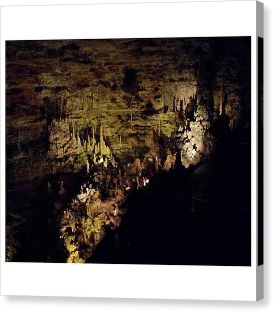 Stalagmites Canvas Print - #noedit #rock #stone #natural #bridge by Clifford McClure