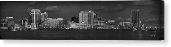 Canvas Print featuring the photograph Norfolk Waterfront Bw by Williams-Cairns Photography LLC
