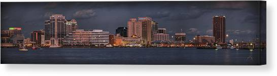 Canvas Print featuring the photograph Norfolk Waterfront Color by Williams-Cairns Photography LLC