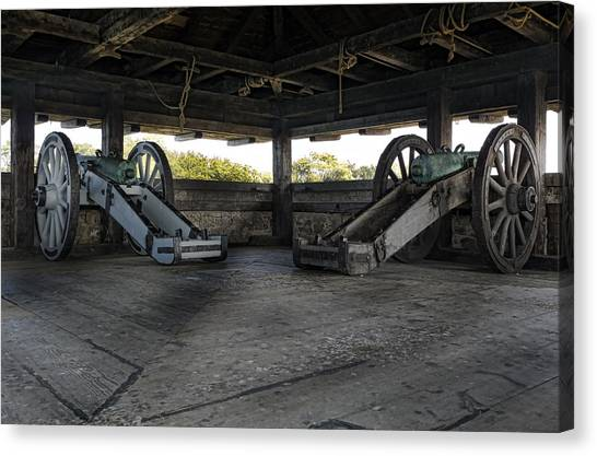 North Redoubt Cannons Canvas Print by Peter Chilelli