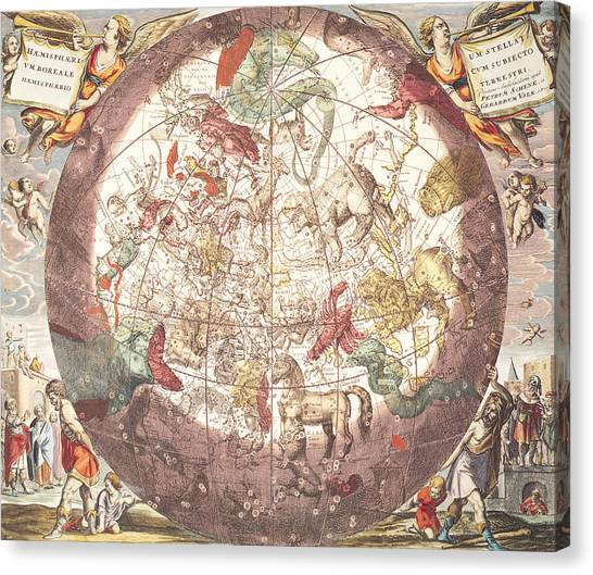 Celestial Globe Canvas Print - Northern Boreal Hemisphere From The Celestial Atlas by Pieter Schenk