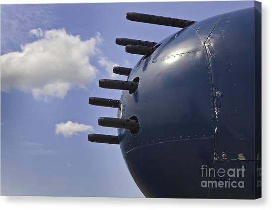 Aac Canvas Print - Nose Guns On B25 Mitchell Airplane by M K  Miller
