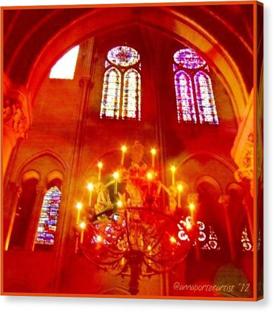 Iphone 4 Canvas Print - Notre Dame Cathedral - Paris France by Anna Porter