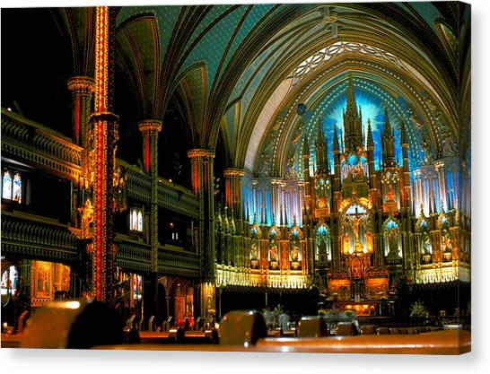 Notre Dame In Montreal Canvas Print by Carl Purcell