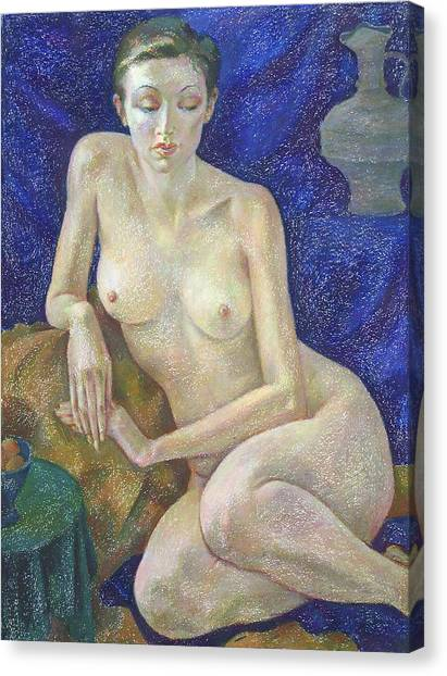 Pastel Canvas Print - Nu 27 by Leonid Petrushin