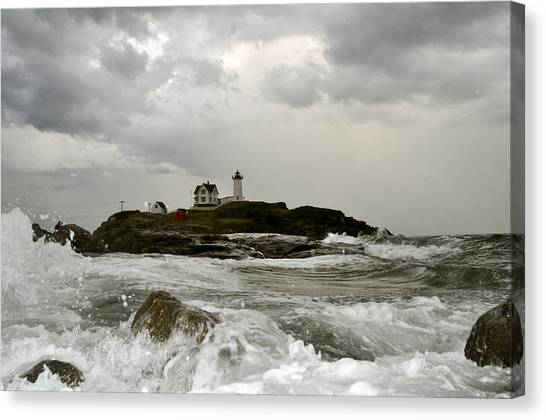 Nubble Lighthouse In The Thick Canvas Print