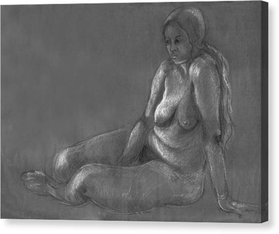 Nude Of A Real Woman In Black Canvas Print
