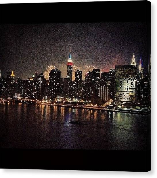 Fireworks Canvas Print - Nyc 4th Of July by Masood Ahmed