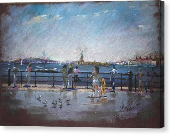 Statue Of Liberty Canvas Print - Nyc Grand Ferry Park 2 by Ylli Haruni