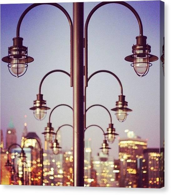 Symmetrical Canvas Print - #nyc #skyline #nycskyline #nj #bokeh by T C