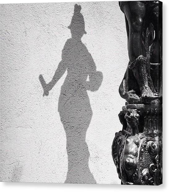 Bronze Canvas Print - Nyc The Met Bronze Statue Shadow Bw by Nick Valenzuela