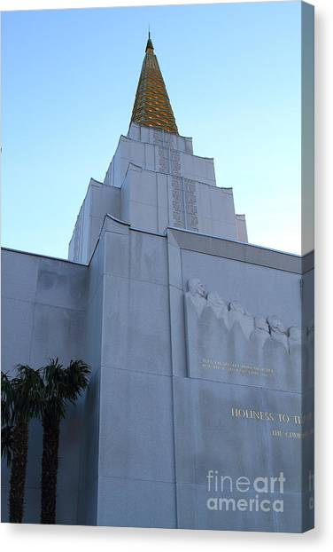 Oakland California Temple . The Church Of Jesus Christ Of Latter-day Saints . 7d11364 Canvas Print by Wingsdomain Art and Photography