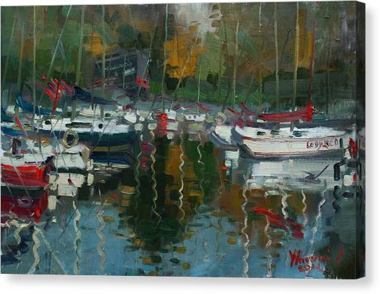 Sailboats Canvas Print - Oakville Harbour On by Ylli Haruni