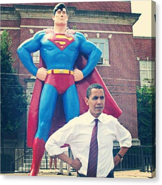 Political Canvas Print - #obama And His #superman #alter-ego by S Breil