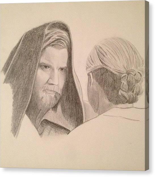 Jedi Canvas Print - Obi-wan & Beru #starwars #drawing by Ian Payne