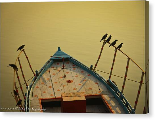 Ganges Canvas Print - Occupied Boat On Ganges by Www.victoriawlaka.com