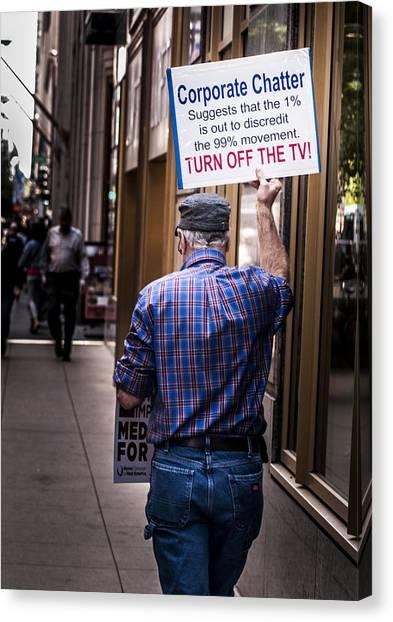 Occupy Chicago V Canvas Print by Roger Lapinski