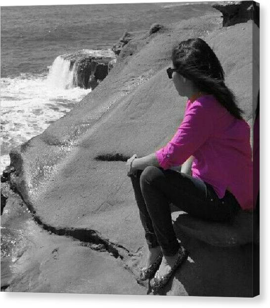 Ocean Cliffs Canvas Print - #ocean #cliffs #me #colorsplash by Analu Figueroa