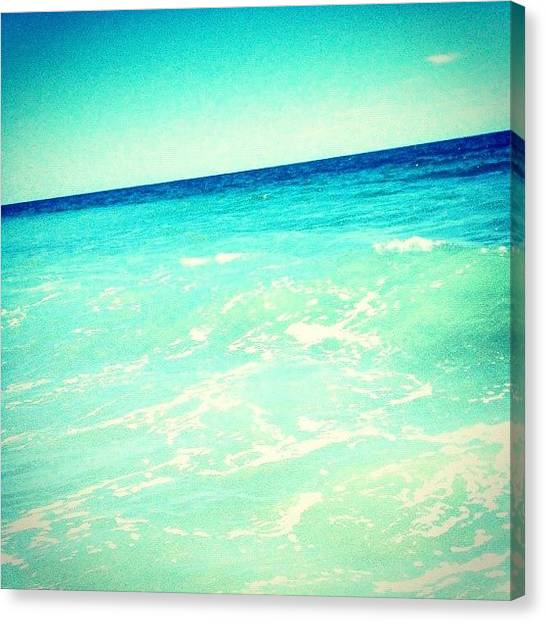 Edit Canvas Print - #ocean #plain #myrtlebeach #edit #blue by Katie Williams