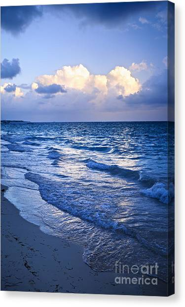 Surf Canvas Print - Ocean Waves On Beach At Dusk by Elena Elisseeva