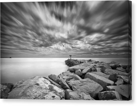 Jetty Canvas Print - Oceanside Harbor Jetty 4 by Larry Marshall