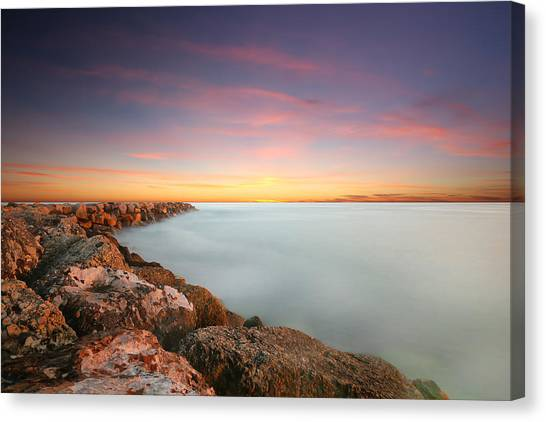 Beach Sunsets Canvas Print - Oceanside Harbor Jetty Sunset by Larry Marshall