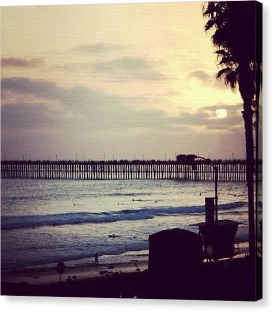 Beach Sunsets Canvas Print - Oceanside Pier Sunset by Gary Krejca