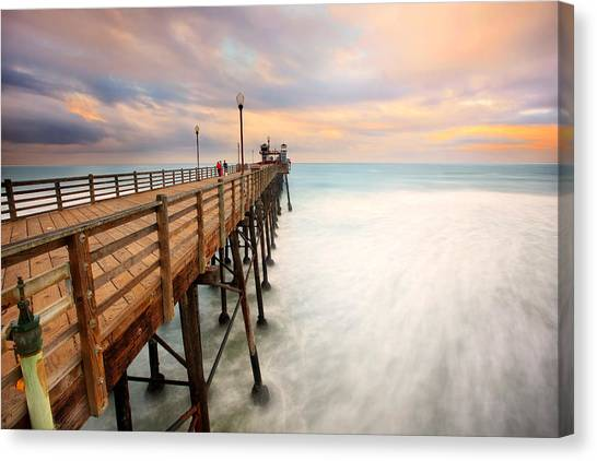 Beach Sunsets Canvas Print - Oceanside Sunset 5 by Larry Marshall