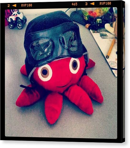 Octopus Canvas Print - #octopus #cute #red #black #helmet by Bryan Thien