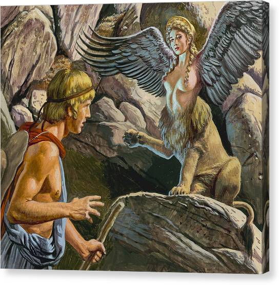 Sphinxes Canvas Print - Oedipus Encountering The Sphinx by Roger Payne