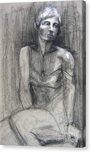 Canvas Print featuring the drawing Off The Shoulder by Gabrielle Wilson-Sealy