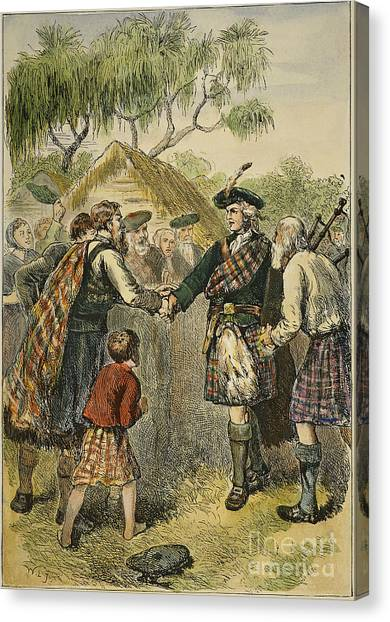 Bagpipes Canvas Print - Oglethorpe Visiting Colony by Granger