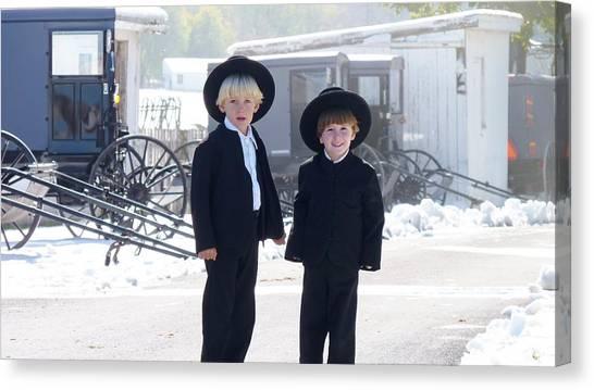 Oh So Cute Amish Boys Canvas Print