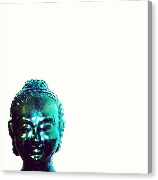 Metallic Canvas Print - Oh Wise One #buddha #teal #metallic by Jenna Luehrsen