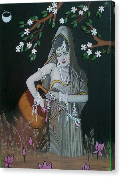 Oil Painting...a Lady With Pitcher Canvas Print by Priyanka Rastogi