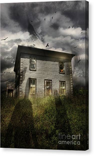 Haunted House Canvas Print - Old Ababdoned House With Flying Ghosts by Sandra Cunningham