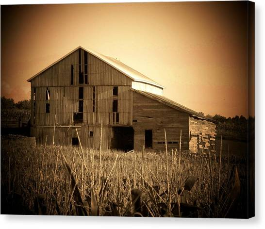Old Barn In Indiana Canvas Print by Joyce Kimble Smith