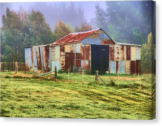 Old Barn In The Mist Canvas Print