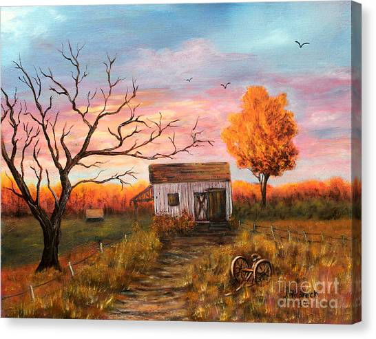 Old Barn Painting At Sunset Canvas Print