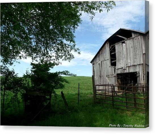 Old Barn With Beautiful Sky Canvas Print by Timothy Hudson