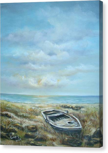 Old Boat Beached Canvas Print