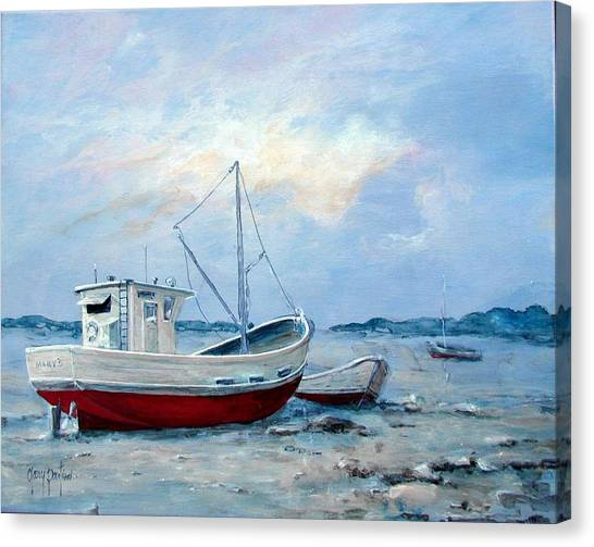 Old Boats On Shore Canvas Print