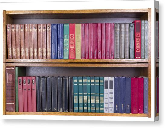 Old Books With Color Covers  On A Shelf  Canvas Print by Aleksandr Volkov