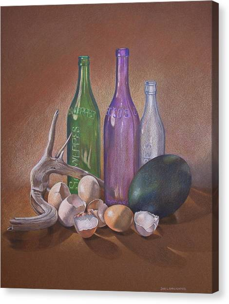 Old Bottles Egg Shells And Driftwood  Canvas Print by Jan Lawnikanis