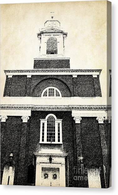Brick House Canvas Print - Old Church In Boston by Elena Elisseeva