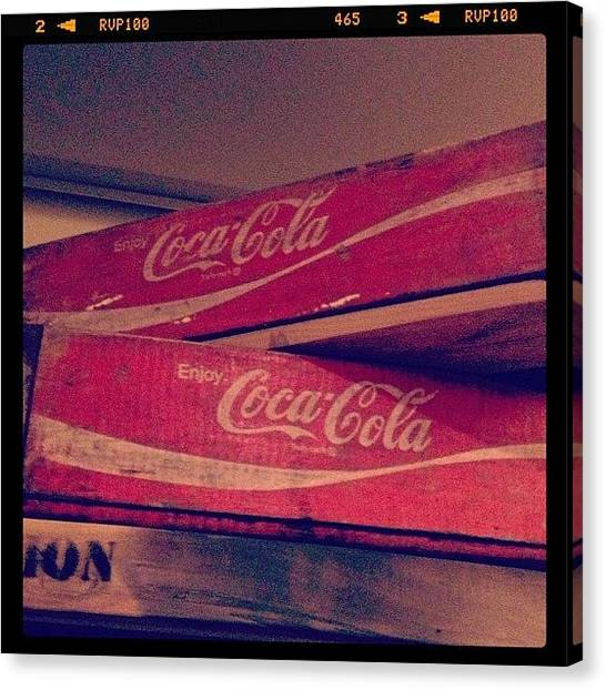 Soda Canvas Print - Old Coca Cola Boxes #cool #cocacola by Myrtali Petrocheilou