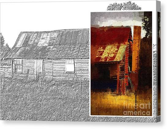 Old Cottage Diptych 1 Canvas Print