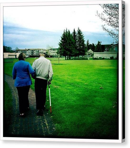 Yen Canvas Print - #old #couple #cute #grass #green by Kee Yen Yeo