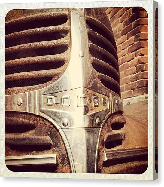 Dodge Canvas Print - Old #dodge #shield by Luca Ferretti